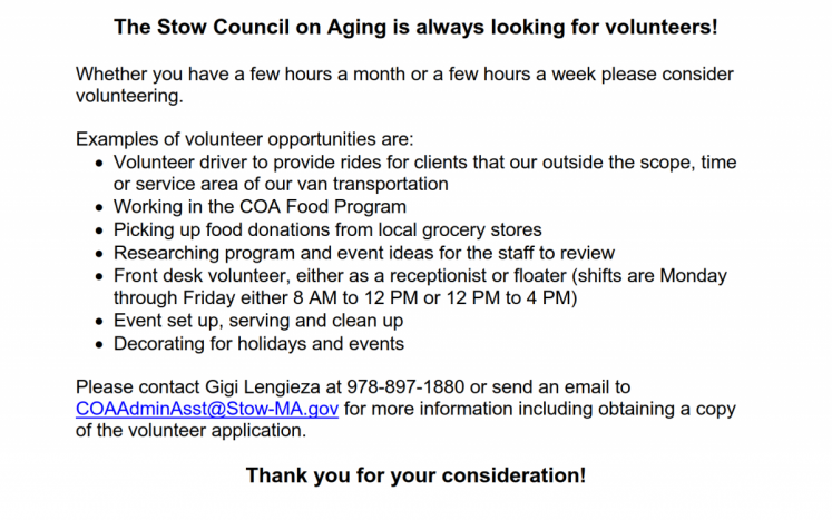 The Stow COA is actively looking for volunteers