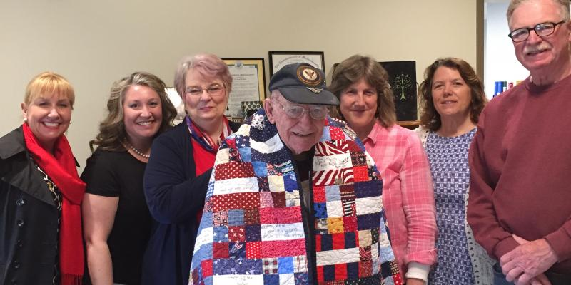 Bud Chase receives Quilt of Valor