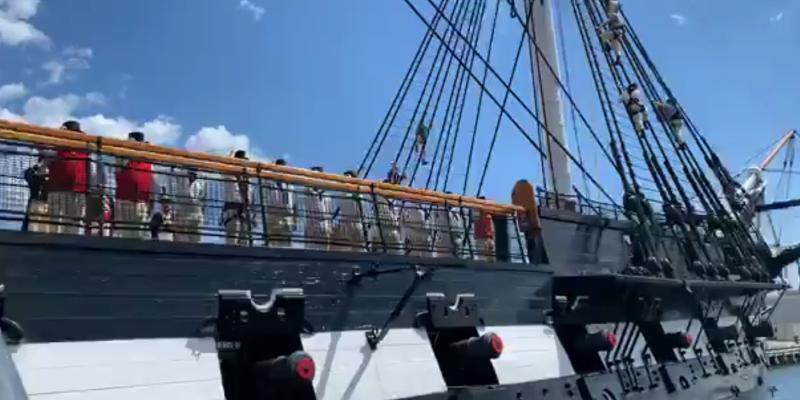 USS Constitution reenacts historic battle.